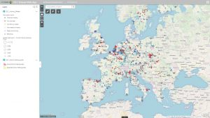 sEEnergies D5.1 Dataset Web-app with the industry dataset and the district heating areas dataset in zoomed-out view